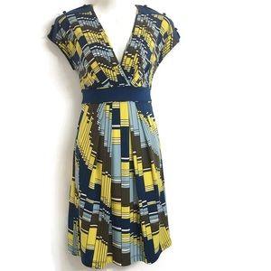 BCBGMaxAzria Geo Print Fit and Flare Dress A12-496
